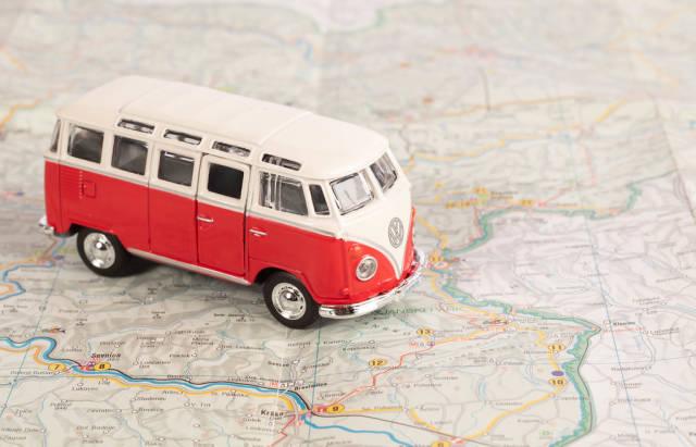 Red camper van on map