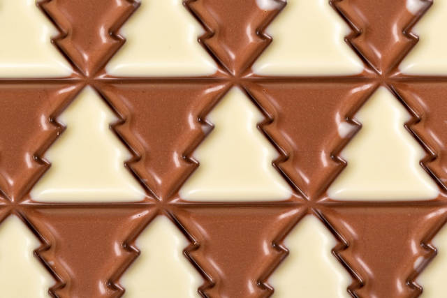 Close-up, chocolate with white and dark trees