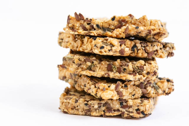 Pile of Gluten Free Crackers with Chia Seeds