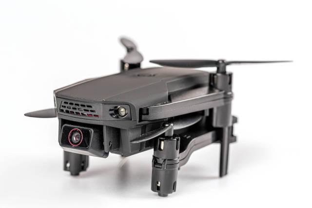 Drone quadcopter with camera, close-up