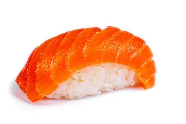 Nigiri with salmon on a white background