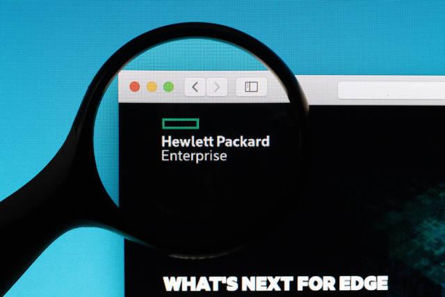 Hewlett Packard Enterprise logo under magnifying glass