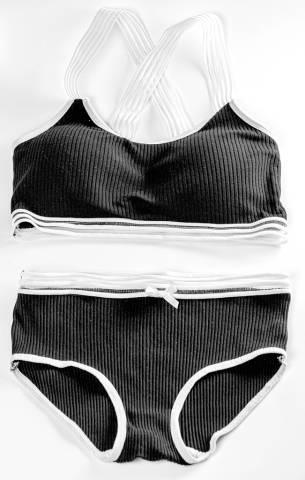 Black sports lingerie set, top view