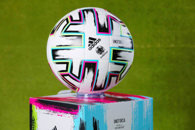 Official Euro 2020 ball, green background
