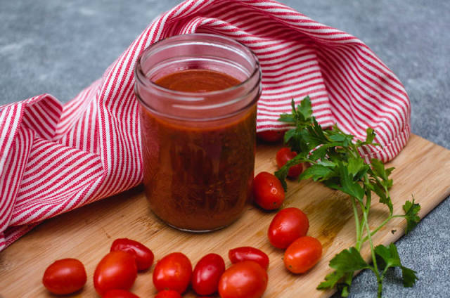 Tomato Sauce on a Jar with Parlsey