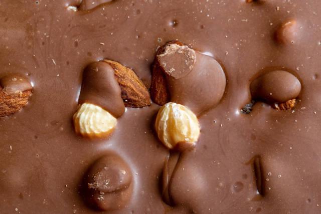 Chocolate with almonds, hazelnuts and raisins