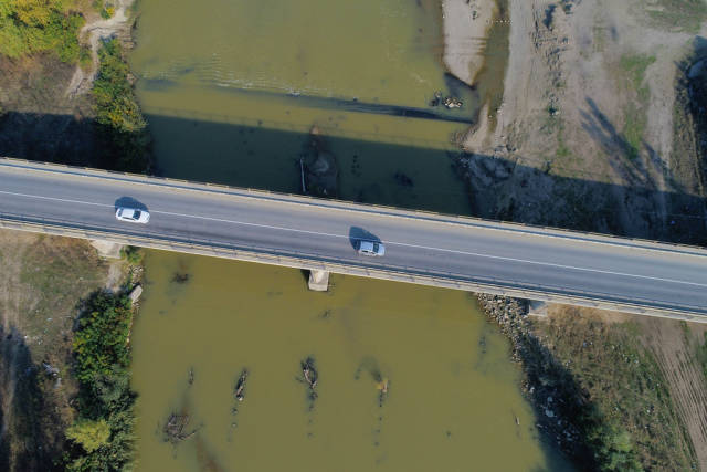 Aerial view of bridge over Arges river, Romania