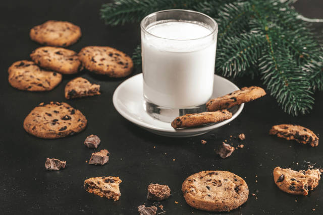 Chocolate chip cookies and milk for Santa