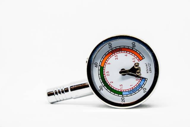 Detail shot of pressure gauge