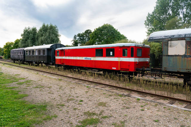 Old German rescue train (Hilfszug) parked at the railway transport museum