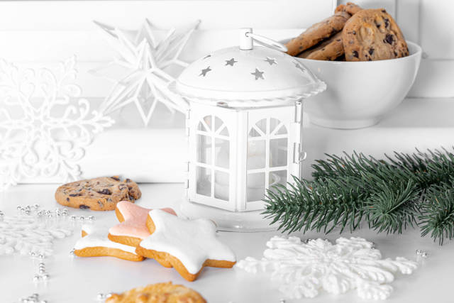 Christmas decor with lantern and cookies