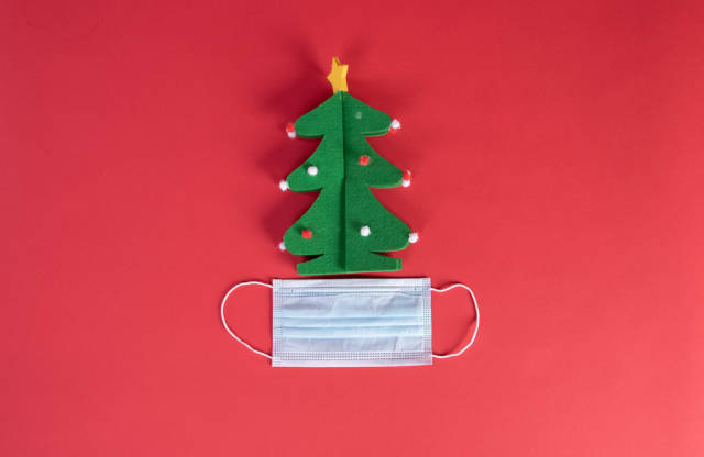 Blue medical face mask and green Christmas tree on red background