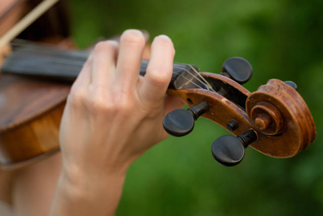 Girls hand on the strings of a violin, close up