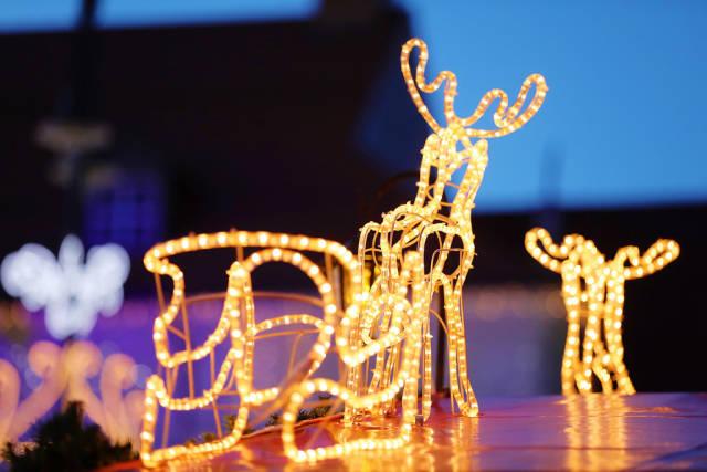 Christmas reindeer lights, decoration at Christmas fair