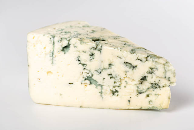 Piece cheese with blue mold