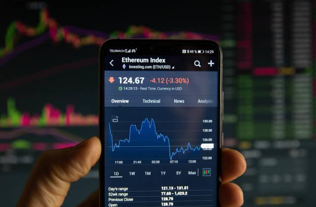 A smartphone displays the NASDAQ 100 market value on the stock exchange