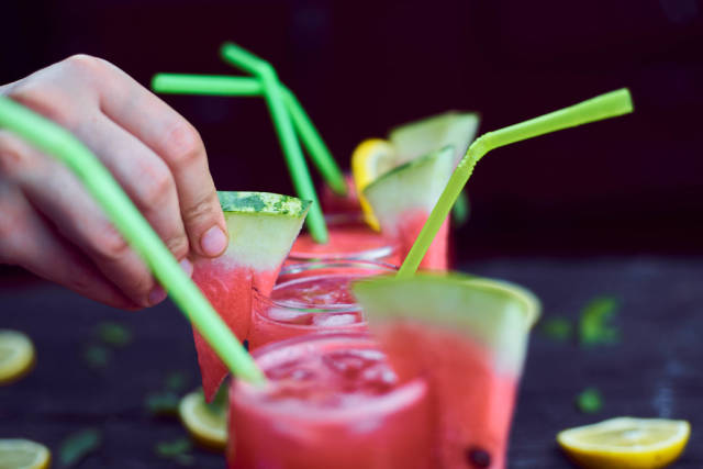 A refreshing summer drink with mint, lemon and watermelon