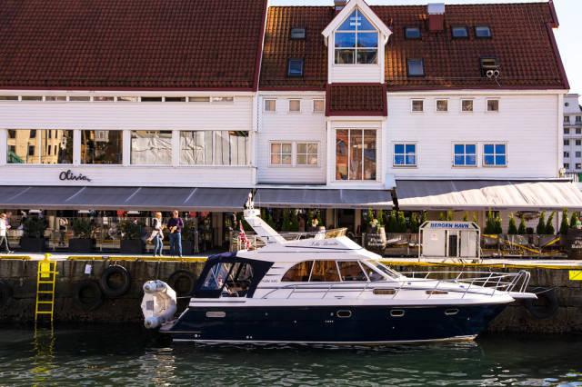 Elegant yacht on harbor