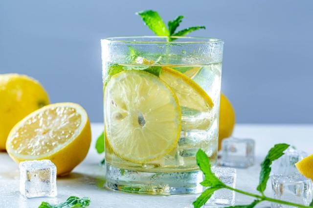Glas mit erfrischender Limonade mit Zitronenscheibe und Minzeblättern umgeben von Zutaten