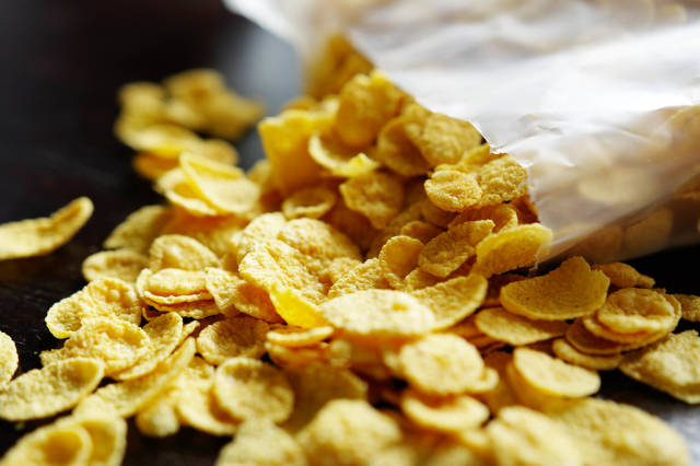Open bag of cornflakes