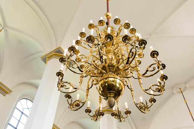 Elegant golden chandelier lamps
