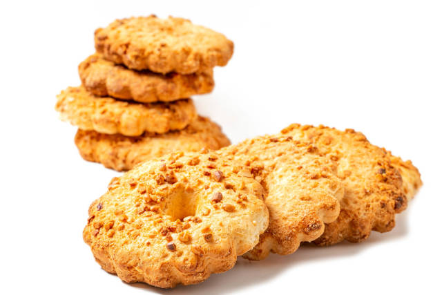 Homemade peanut shortbread cookie, close up