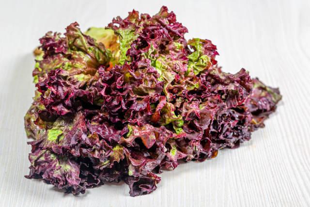 Fresh purple lettuce on white wooden background