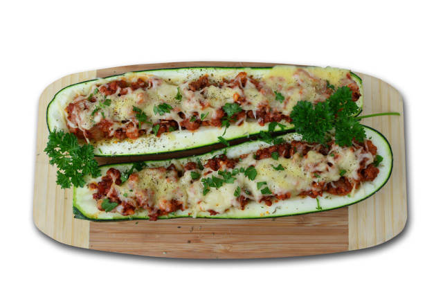 Zucchini with turkey and cheese