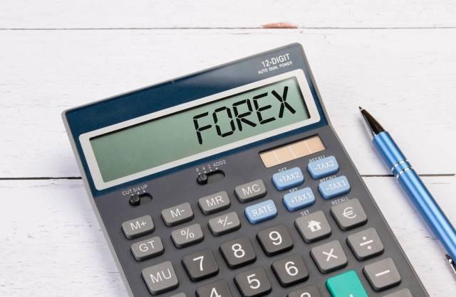 """Klassischer Taschenrechner zeigt """"Forex"""" auf dem Display"""