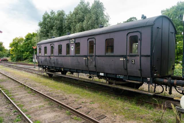 Old black German Reich train carriage with a Breslau destination sign