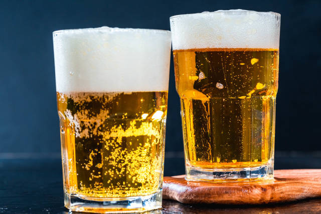 Two glasses of fresh beer