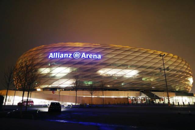 Allianz Arena, Munich football stadium, night view