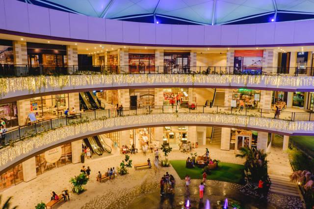 Bright christmas lights of the Festive Walk mall