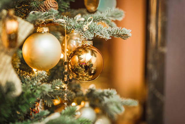 Christmas Ball Golden With Pines