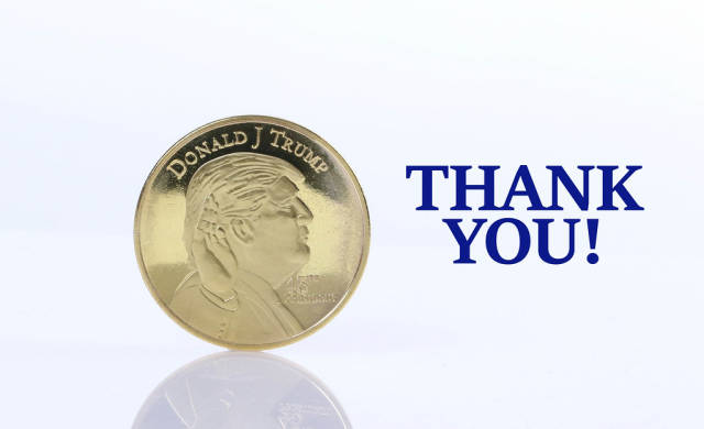 Golden Donald Trump coin with Thank You text