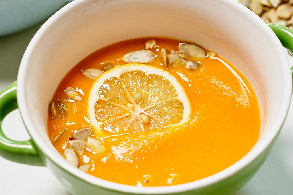 A creamy pumpkin soup for autumn