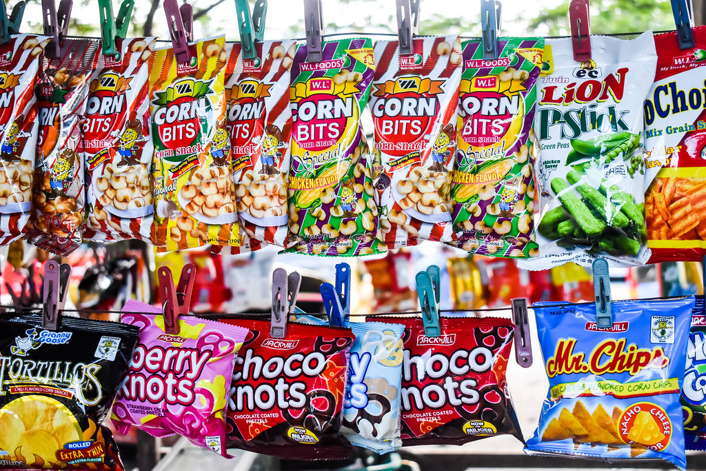 Local snacks clipped on wires for display