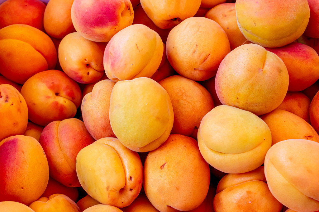 Ripe orange apricots background