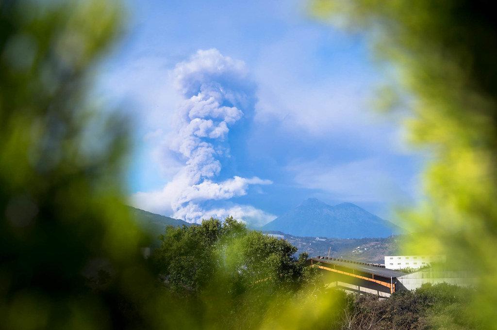 View of Volcan de Fuego erupting