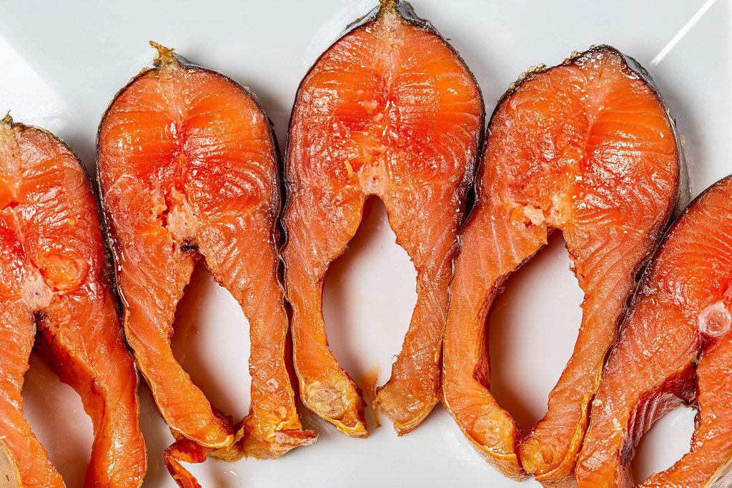 Smoked salmon steaks close up