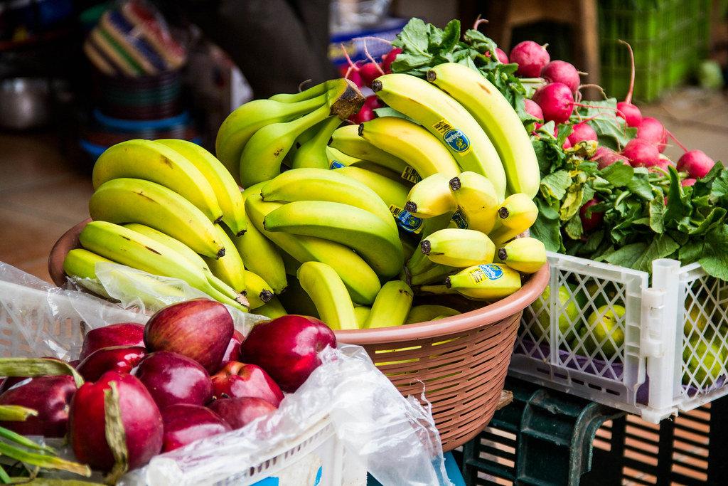 Fresh Apples, Bananas, and Radishes