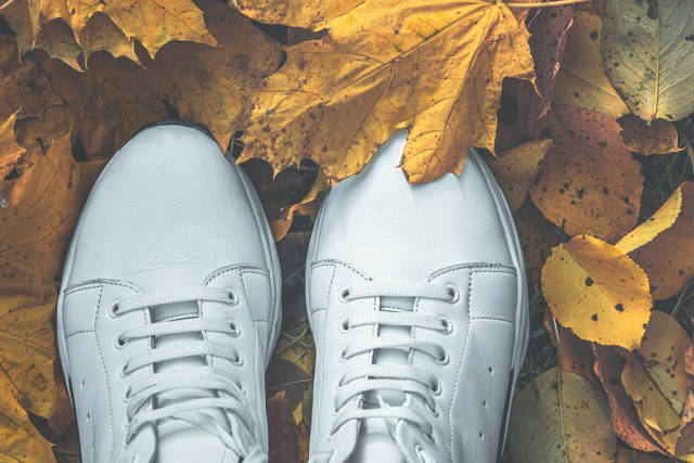 New white sneakers on autumn yellow leaves