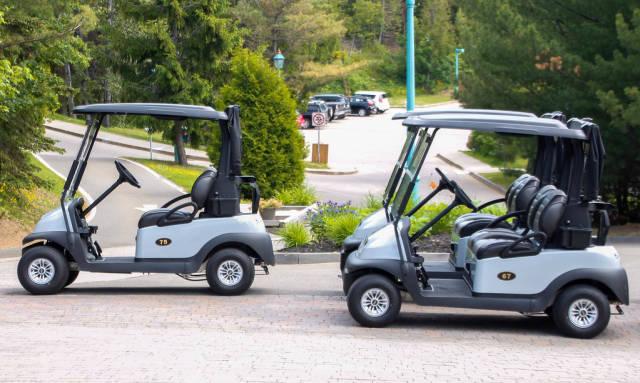 Mehrere Golfwagen unweit vom Golfplatz