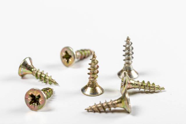 Metal screws on a white background