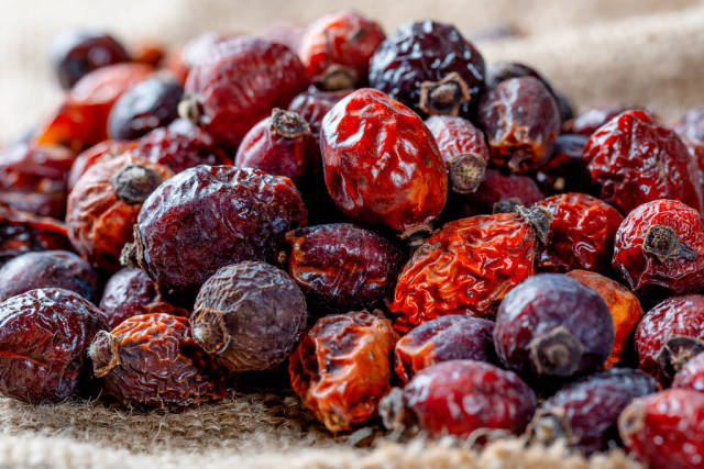 Dried rose hips on mescaline