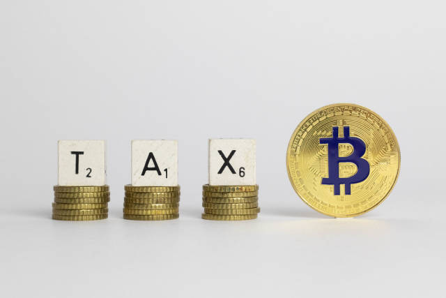 Tax text with Bitcoin