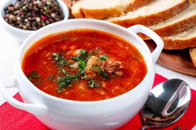 White bowl of traditional Ukranian soup borsch
