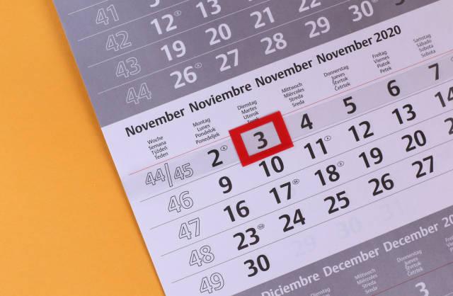 November 3rd date marked on calendar
