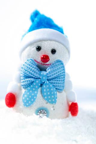 Cheerful snowman on snow