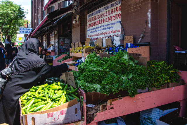 Fruits and Vegetables City Market with costumer